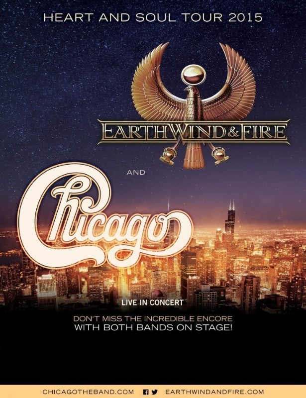 EARTH, WIND & FIRE AND CHICAGO ANNOUNCE THE CHICAGO AND EARTH, WIND & FIRE - HEART AND SOUL TOUR 2015 (PRNewsFoto/Live Nation Entertainment)