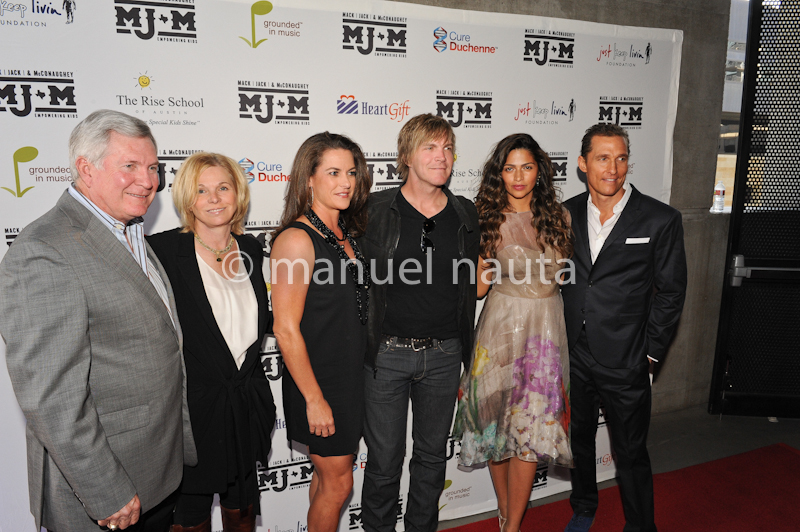 (L-R) Mack Brown, Sally Brown, Amy Ingram, Jack Ingram, Camila McConaughey and Matthew McConaughey walk the red carpet on the inaugural charity event Mack, Jack & McConaughey (MJ&M).ACL Live at Moody Theater on April 11, 2013 in Austin, Texas.