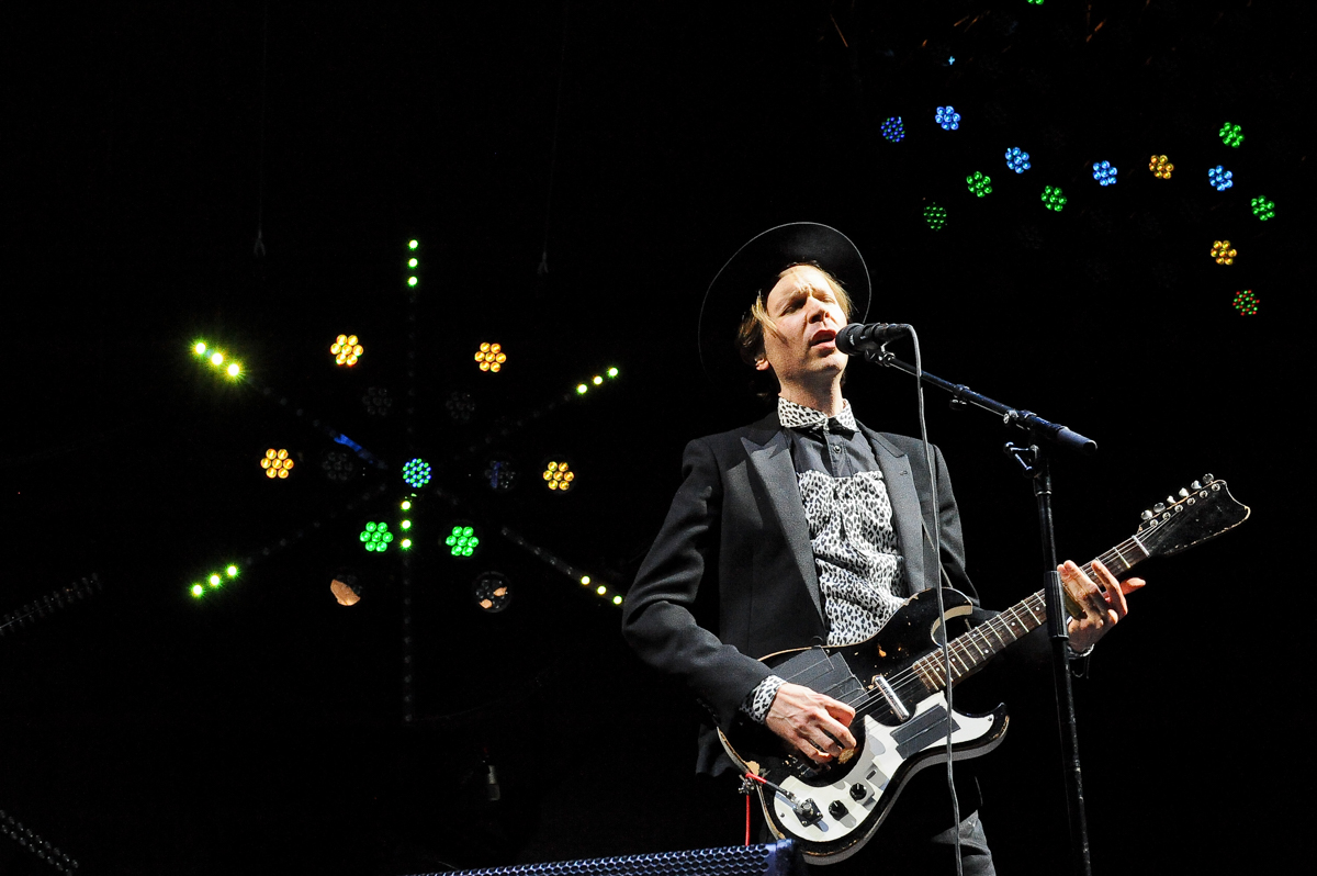 Musician Beck performs onstage during day 1 of the Life Is Beautiful Festival on October 26, 2013 in Las Vegas, Nevada. Photo © Manuel Nauta