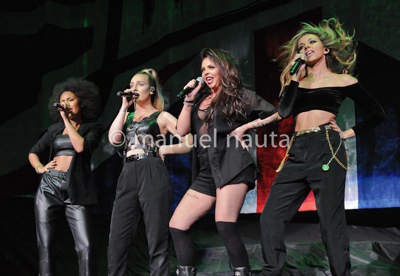 (L-R) Leigh-Anne Pinnock, Perrie Edwards, Jesy Nelson and Singers Jade Thirlwall of the band Little Mix, from the television show The X Factor, were the second opening band for the Demi Lovato NEON LIGHTS TOUR at the Toyota Center on February 19, 2014 in Houston, Texas - USA