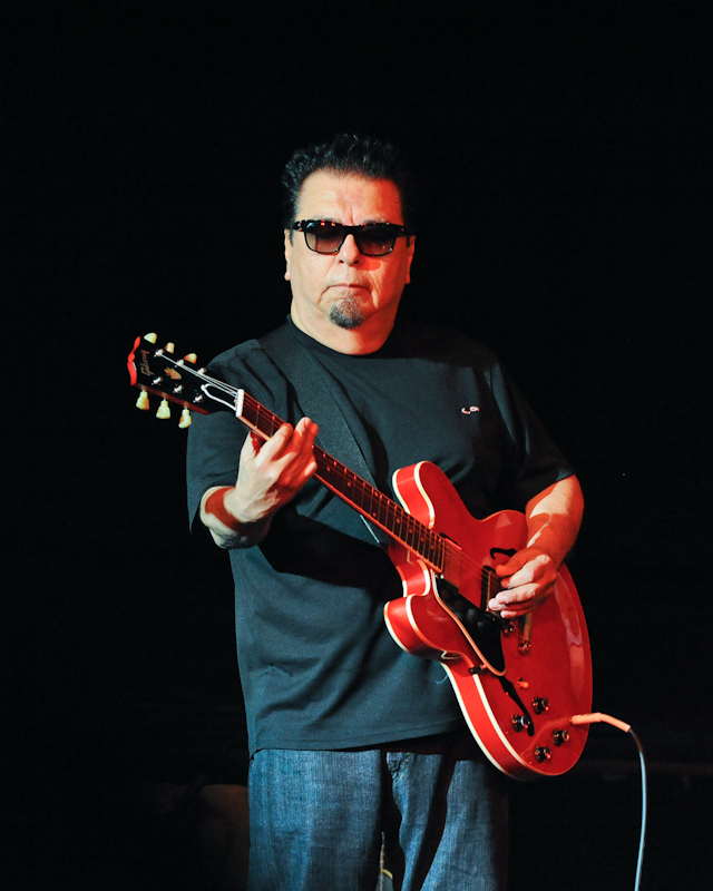 Cesar Rosas of Los Lobos performs with the band in concert at the Aztec Theater on April 13, 2014 in San Antonio, Texas - USA.