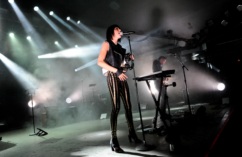 Sarah Barthel (L) and Josh Carter (R) of the duo Phantogram perform in concert at Stubb's on April 22, 2014 in Austin, Texas.