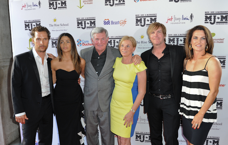 (L - R) Matthew McConaughey, Camila Alves, Mack Brown, Sally Brown, Jack Ingram and Amy Ingram walk the red carpet during the Mack, Jack & McConaughey Gala at ACL Live on April 24, 2014 in Austin, Texas.