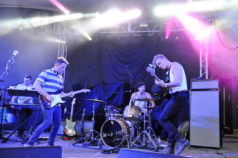 (L-R) Eric Wilson, Keegan DeWitt, Dabney Morris and Harry West of the band Wild Cub perform in concert at Stubb's on April 25, 2014 in Austin, Texas. / Photo © Manuel Nauta