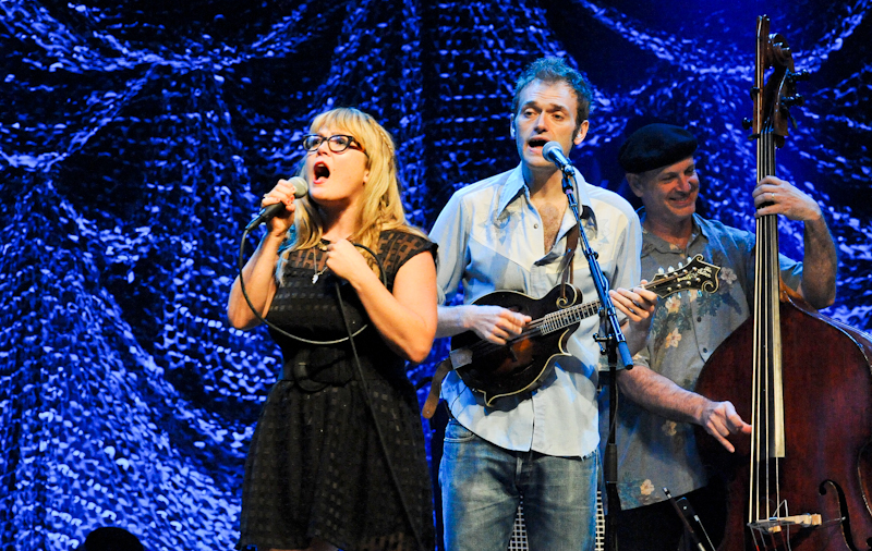 (L-R) Sara Watkins, Chris Thile and Mark Schatz of Nickel Creek perform in concert at ACL Live on August 24, 2014 in Austin, Texas.