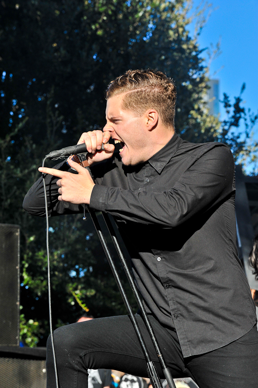 George Clarke of Deafheaven performs in concert during Day 3 of FunFunFun Fest at Auditorium Shores on November 9, 2014 in Austin, Texas. Photo © Manuel Nauta
