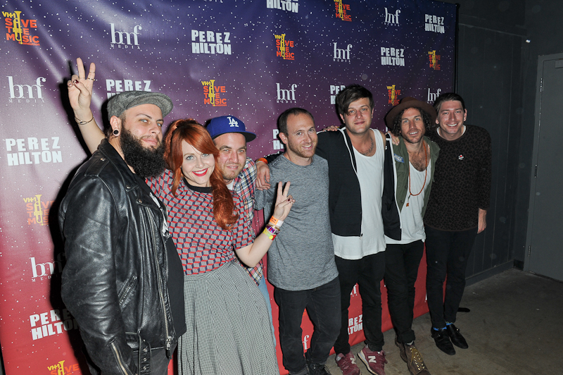 Colin Louis Dieden, Katie Jayne Earl , Matthew Di Panni, Josh Hogan, Dave Appelbaum, Spencer Trent, Andy Warren  of The Mowgli's pose backstage during Perez Hilton's One Night in Austin at Austin Music Hall on March 21, 2015 in Austin, Texas. Photo © Manuel Nauta