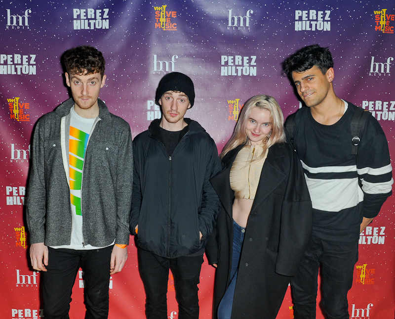 Jack Patterson, Luke Patterson, Grace Chatto and Milan Neil Amin-Smith of Clean Bandit pose backstage during Perez Hilton's One Night in Austin at Austin Music Hall on March 21, 2015 in Austin, Texas / Photo © Manuel Nauta