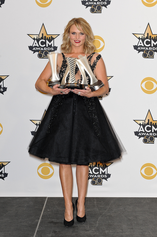 Honoree Miranda Lambert, winner of the Female Vocalist of the Year Award; Song of the Year Award for 'Automatic'; Album of the Year Award for 'Platinum'; and recipient of the Milestone Award for Most Awarded Solo Female Artist, poses in the press room at the 50th Academy Of Country Music Awards at AT&T Stadium on April 19, 2015 in Arlington, Texas. Photo © Manuel Nauta