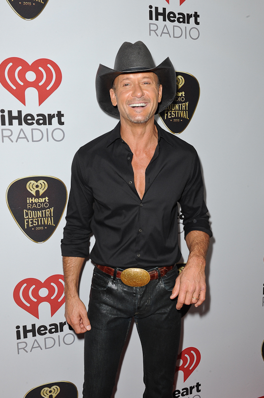 Musician Tim McGraw poses backstage at the 2015 iHeartRadio Country Festival at The Frank Erwin Center on May 2, 2015 in Austin, Texas.  Photo © Manuel Nauta