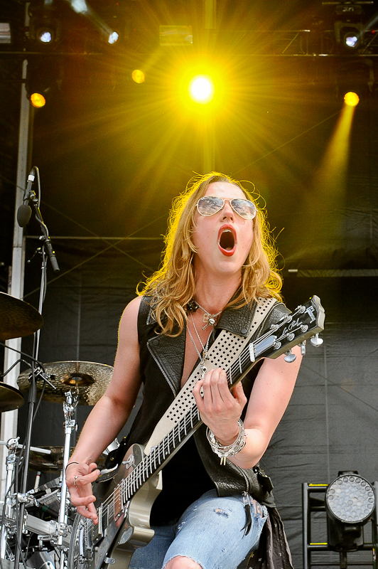 Lzzy Hale of Halestorm  performs onstage during River City Rockfest at the AT&T Center on May 24, 2015 in San Antonio, Texas. Photo © Manuel Nauta