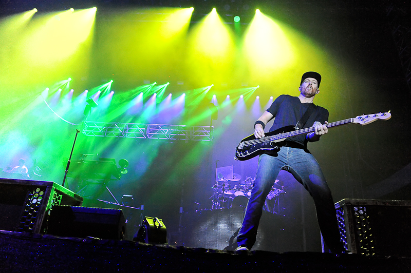 Dave Farrell of Linkin Park performs onstage during River City Rockfest at the AT&T Center on May 24, 2015 in San Antonio, Texas. Photo © Manuel Nauta