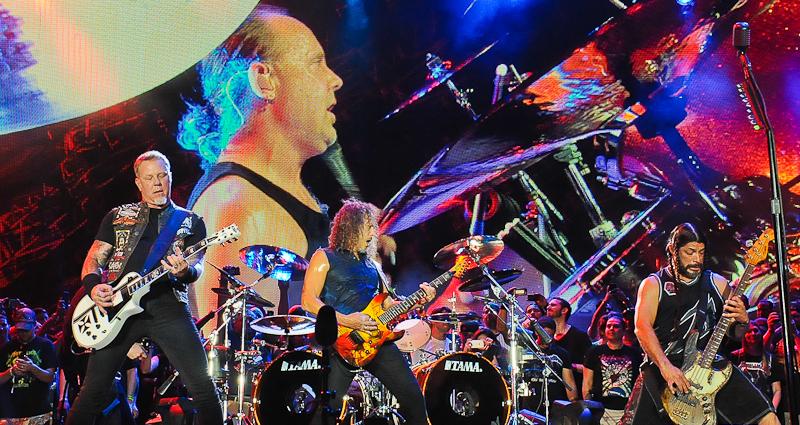 James Hetfield, Lars Ulrich, Kirk Hammett and Robert Trujillo perform in concert during X Games Austin at Circuit of The Americas on June 6, 2015 in Austin, Texas. Photo © Manuel Nauta