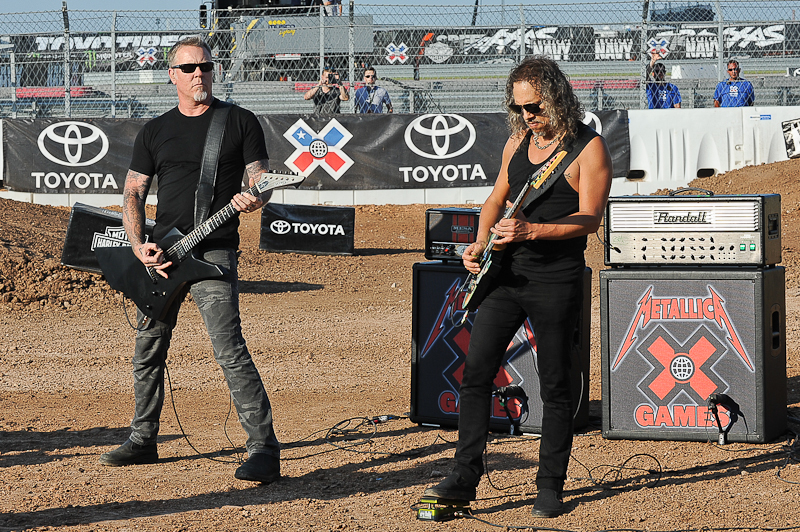 Musicians James Hetfield and Kirk Hammett of Metallica perform the U.S. National Anthem during X Games Austin at Circuit of The Americas on June 6, 2015 in Austin, Texas. Photo © Manuel Nauta