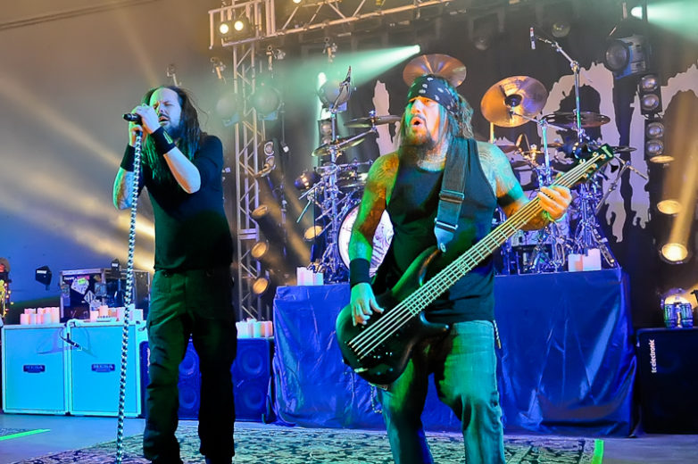 Jonathan Davis (L) and Reginald 'Fieldy' Arvizu with the band KORN perform in concert at Stubb's on October 19, 2015 in Austin, Texas. Photo © Manuel Nauta