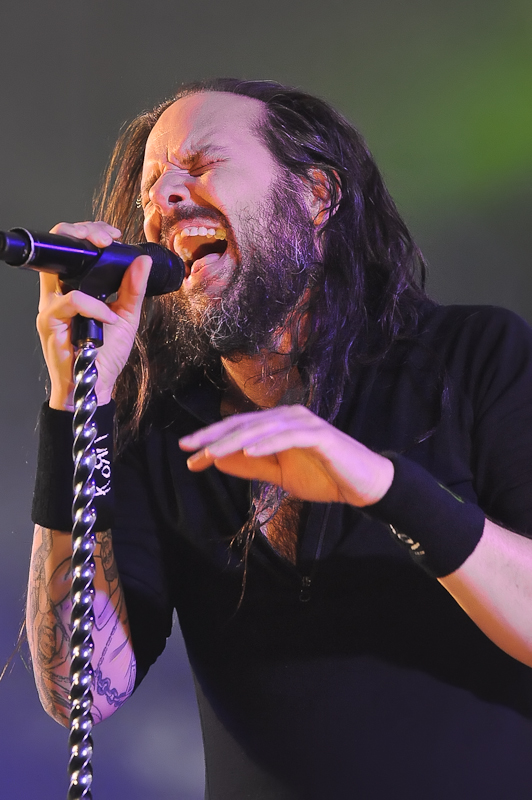 Jonathan Davis with the band KORN performs in concert at Stubb's on October 19, 2015 in Austin, Texas. Photo © Manuel Nauta