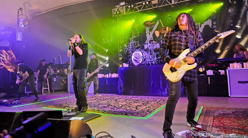 (L-R) Brian 'Head' Welch, Jonathan Davis, Ray Luzier and James 'Munky' Shaffer with the band KORN perform in concert at Stubb's on October 19, 2015 in Austin, Texas. Photo © Manuel Nauta
