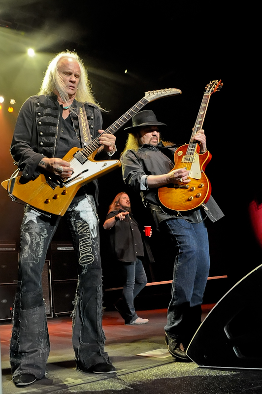 Rickey Medlocke (L) and Gary Rossington of Lynyrd Skynyrd perform in concert at Cedar Park Center on January 28, 2016 in Austin, Texas. Photo © Manuel Nauta