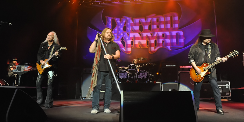 (L-R) Peter 'Keys' Pisarczyk, Rickey Medlocke, Johnny Van Zant, Michael Cartellone and Gary Rossington of Lynyrd Skynyrd perform in concert at Cedar Park Center on January 28, 2016 in Austin, Texas. Photo © Manuel Nauta
