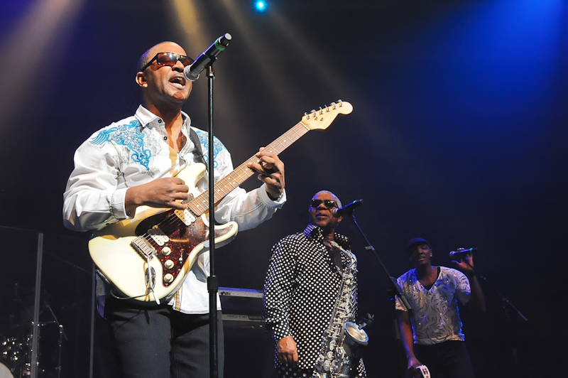 (L-R) Shawn McQuiller, Dennis Thomas and Lavell Evans of Kool and The Gang perform in concert at ACL Live on January 29, 2016 in Austin, Texas. Photo © Manuel Nauta