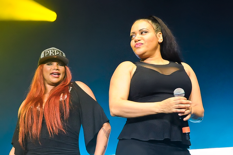 Sandra 'Pepa' Denton (L) and Cheryl 'Salt' James of Salt-N-Pepa perform onstage as part of 'I Love the 90's' at Cedar Park Center on February 5, 2016 in Cedar Park, Texas. Photo © Manuel Nauta