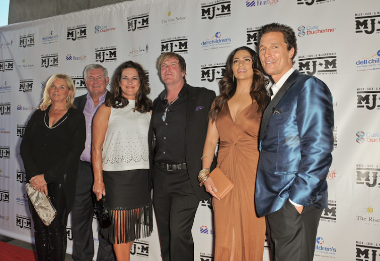 Sally Brown, Mack Brown, Amy Ingram, Jack Ingram, Camila Alves, and Matthew McConaughey arrive at the fourth Mack, Jack & McConaughey charity gala at ACL Live on April 14, 2016 in Austin, Texas. Photo © Manuel Nauta