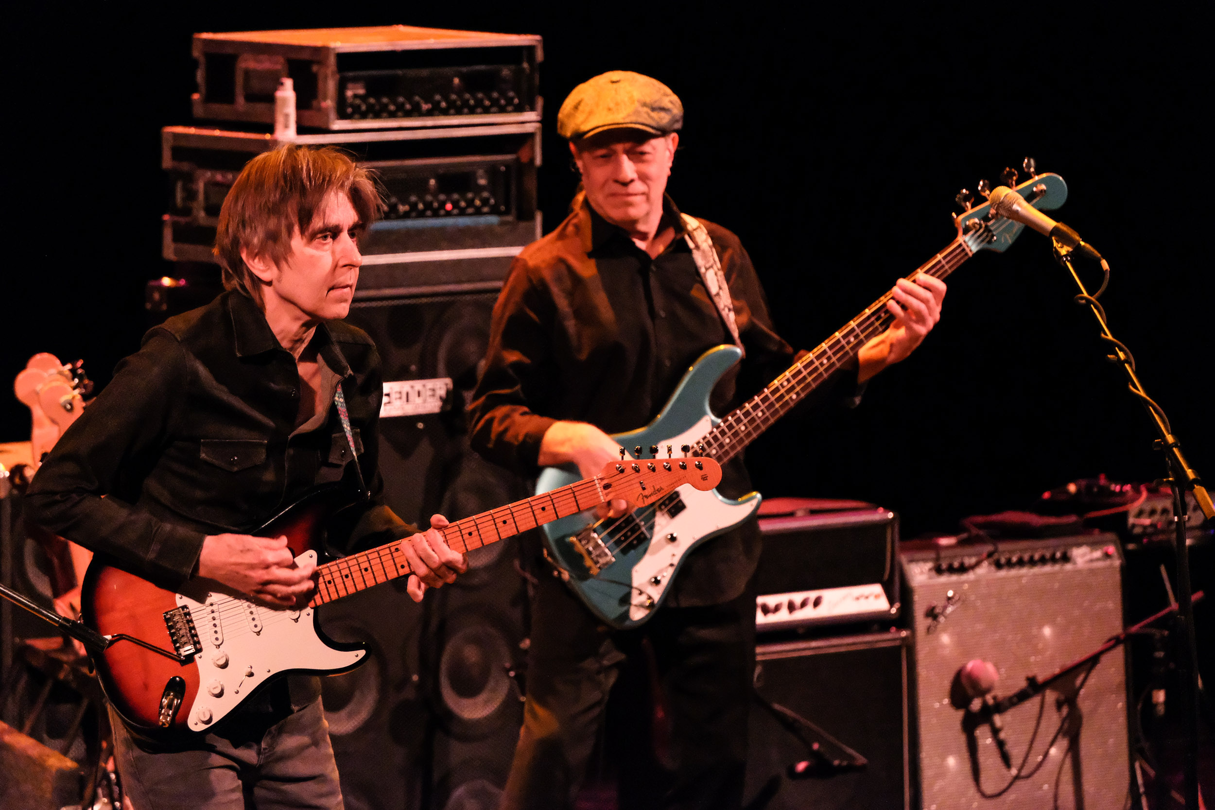 Eric Johnson (L) and Roscoe Beck (R) perform in concert on the 2020 tour Classics: Present and Past at The Aztec Theatre on January 30, 2020 in San Antonio, Texas. Photo © Manuel Nauta