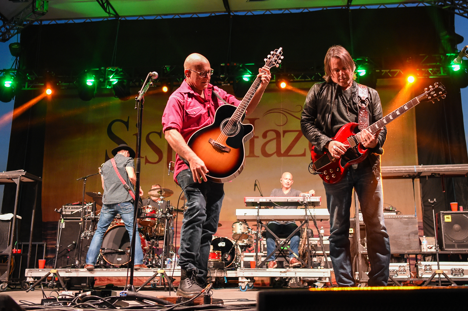 (L-R) Jett Beres, Mark Trojanowski, Ken Block, Dave LaGrande and Ryan Newell with the band Sister Hazel perform in a socially distancing concert at the HEB Center at Cedar Park, Cedar Park Texas on October 2, 2020. Photo © Manuel Nauta