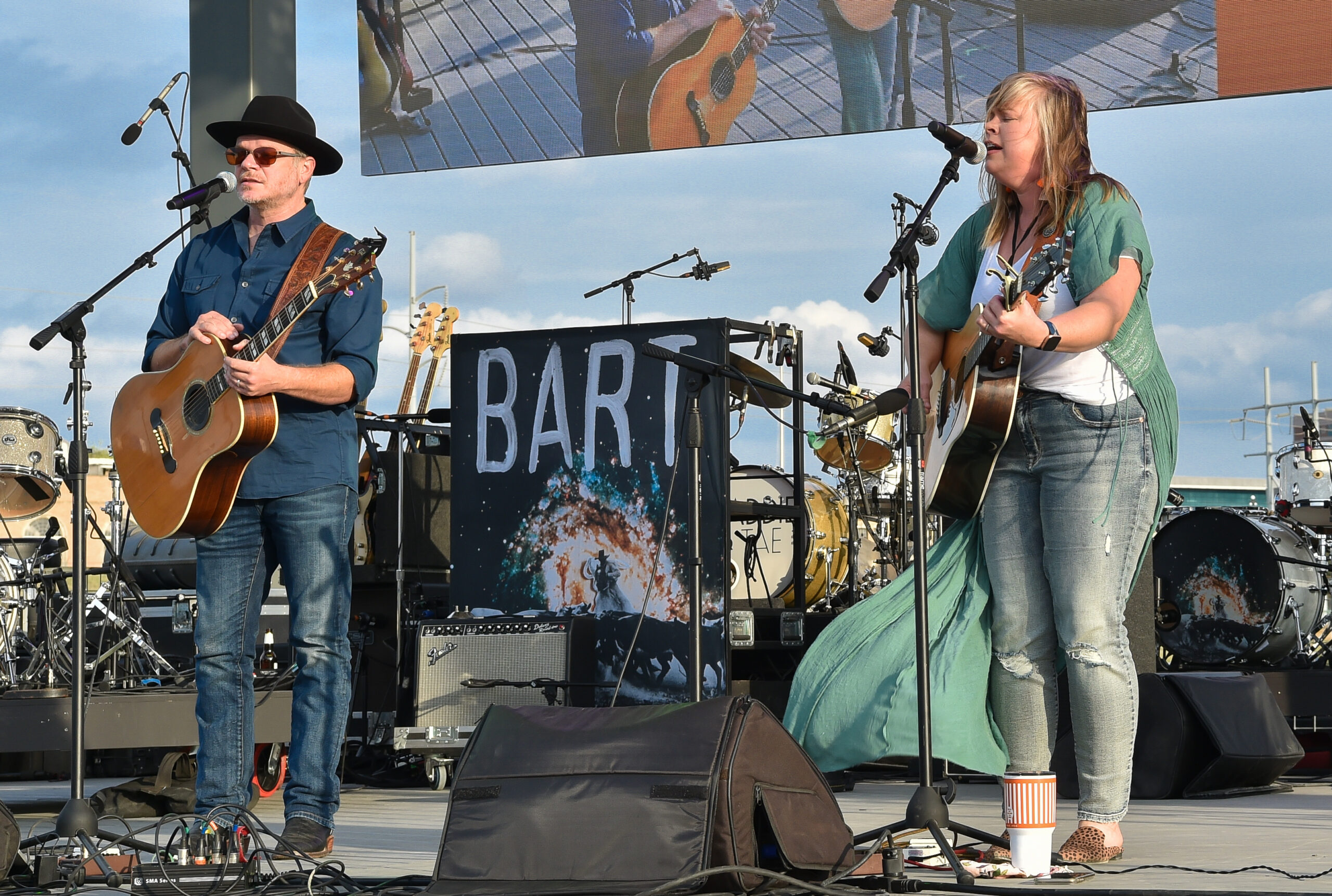 Jason Eady (L) and Courtney Patton (R) perform in concert during the River and Blues Festival at the Panther Island Pavilion in Fort Worth Texas on November 14, 2020. Photo © Manuel Nauta