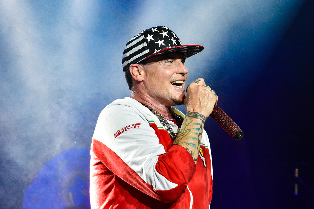 SAN ANTONIO, TEXAS - JULY 10: Rapper, actor and television host Robert Matthew Van Winkle, known by his stage name as Vanilla Ice performs in concert during the SeaWorld Electric Ocean Concert Series at the Nautilus Amphitheater on July 10, 2021 in San Antonio, Texas. Photo © Manuel Nauta